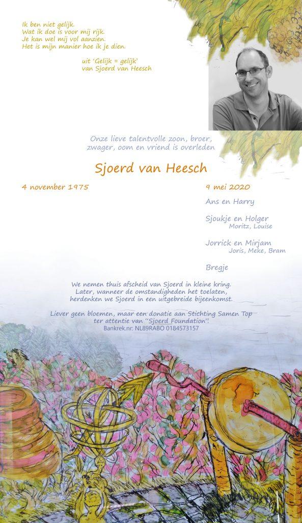 kennisgeving overlijden Sjoerd van Heesch
