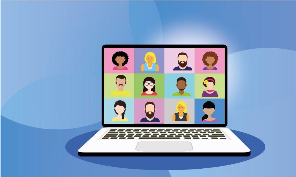 illustratie van een laptop met beeldbellen op scherm